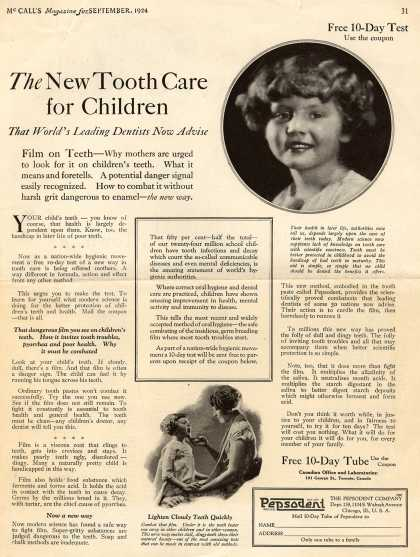 Pepsodent Company's Pepsodent Tooth Paste – The New Tooth Care for Children (1924)