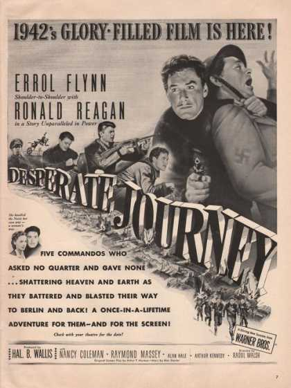 Errol Flynn & Ronald Reagan In a Movie (1942)
