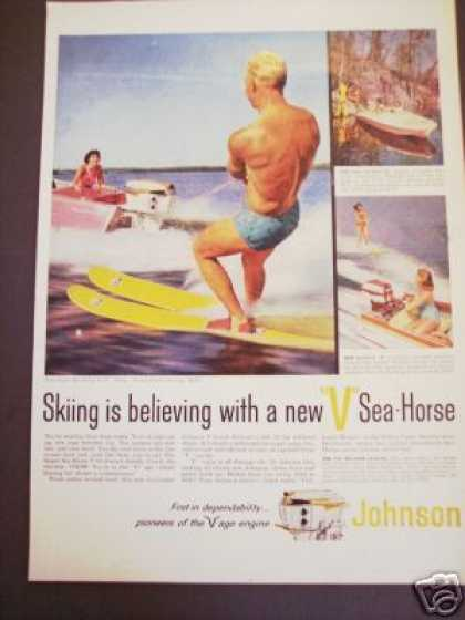 Johnson Sea Horse Outboard Boat Water Skiing (1958)