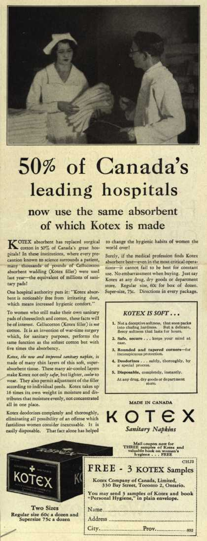 Kotex Company's Sanitary Napkins – 50% of Canada's leading hospitals now use the same absorbent of which Kotex is made (1930)