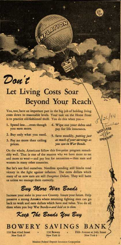 Bowery Savings Bank's Anti-inflation – Don't Let Living Costs Soar Beyond Your Reach (1944)