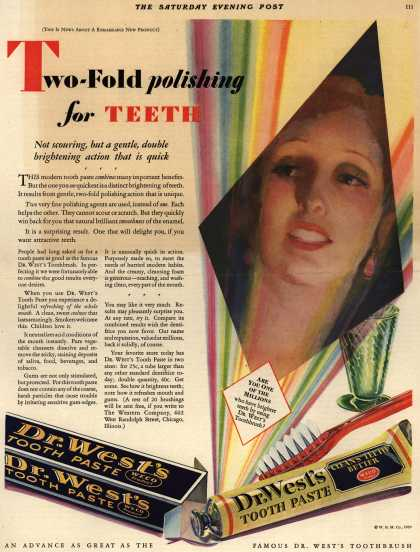 Western Company's Dr. West's Tooth Paste – Two-Fold polishing for Teeth (1929)