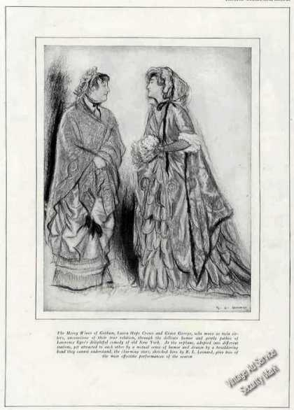 Print Sketch of Laura Hope Crews & Grace George (1924)