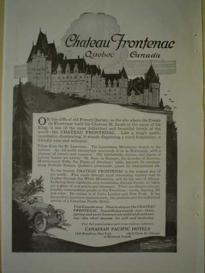 Chateau Frontenac Quebec Canada Canadian Pacific Hotels (1920)