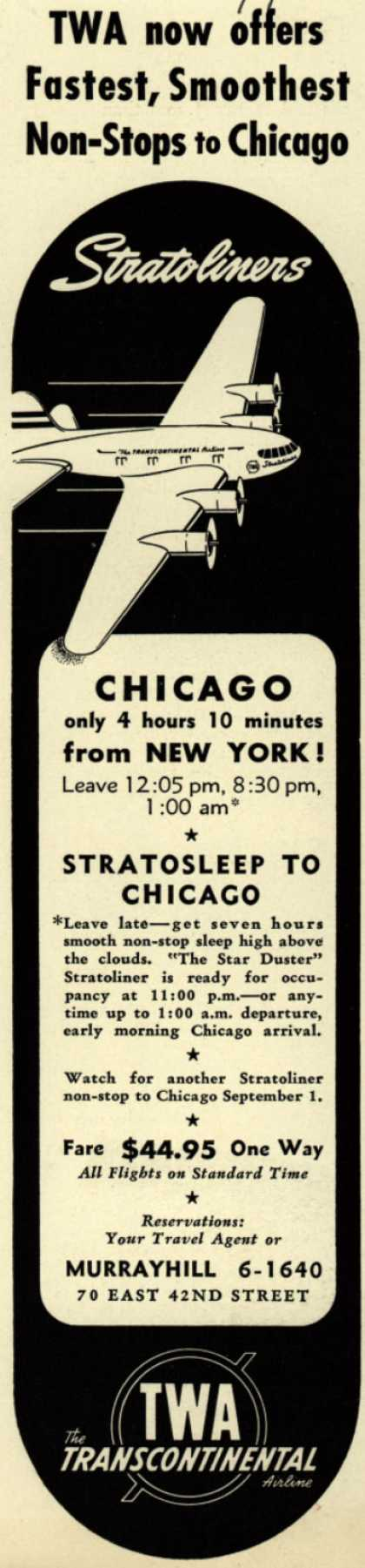Transcontinental & Western Air's New York-Chicago – TWA now offers Fastest, Smoothest Non-Stops to Chicago (1940)