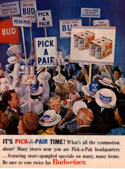 Budweiser Beer Vote for Bud Coleman Camp Gear (1964)