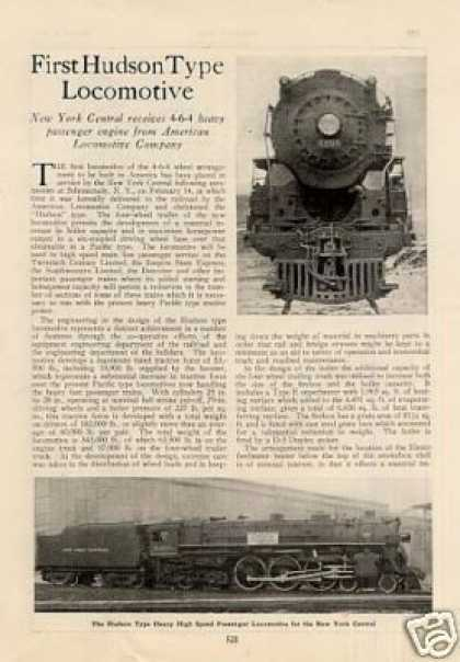 """First Hudson Type Locomotive"" Article/nyc #5200 (1927)"
