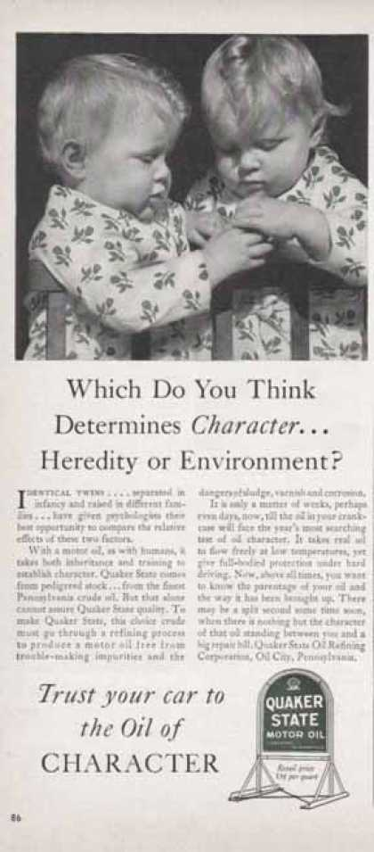 Quaker State Oil – Heredity or Environment (1940)