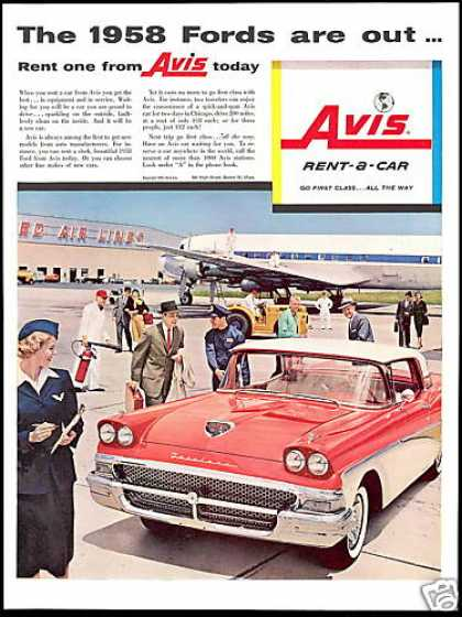 Avis Rent A Car Ford Fairlane Photo Airport (1958)