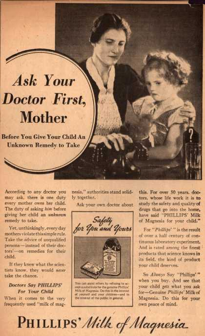 Chas. H. Phillips Chemical Co.&#8217;s Milk of Magnesia &#8211; Ask Your Doctor First Mother (1934)