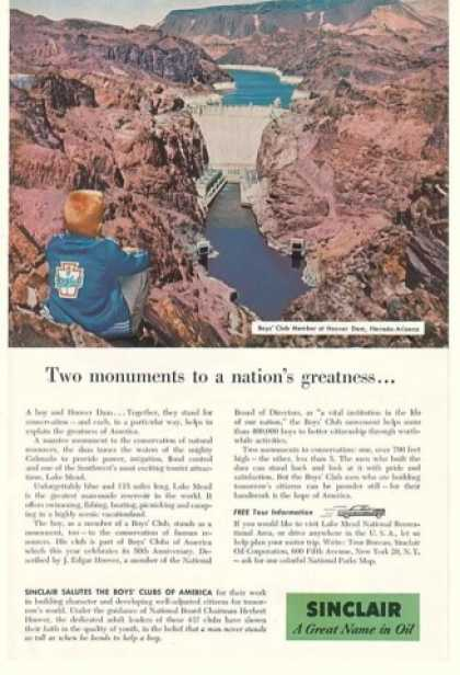 Boys Club Boy Hoover Dam NV AZ Sinclair Oil (1956)
