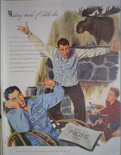 Pacific Mills Cotton and Rayon shirts Hunting Theme (1947)
