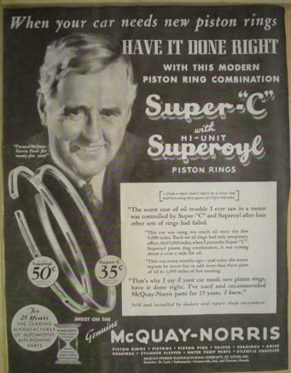 McQuay Norris Super C Piston Rings (1935)