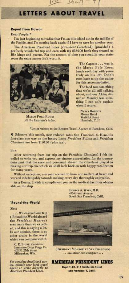 American President Lines – Letters About Travel (1949)