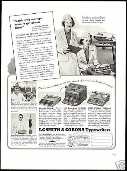 LC Smith & Corona Typewriter American Airlines (1940)