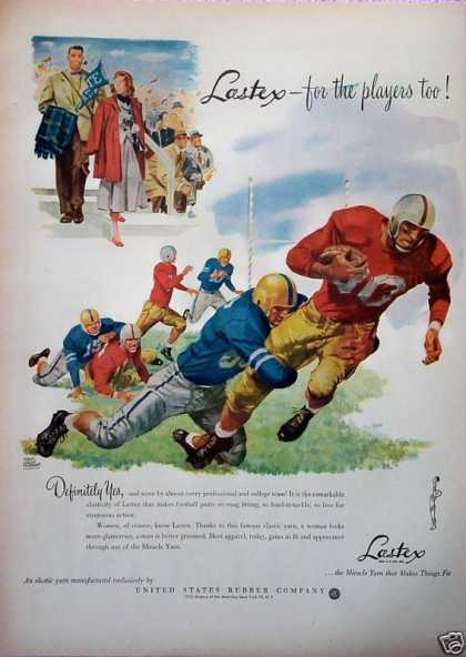 Lastex US Rubber Co Football Players Fans Pennant (1948)