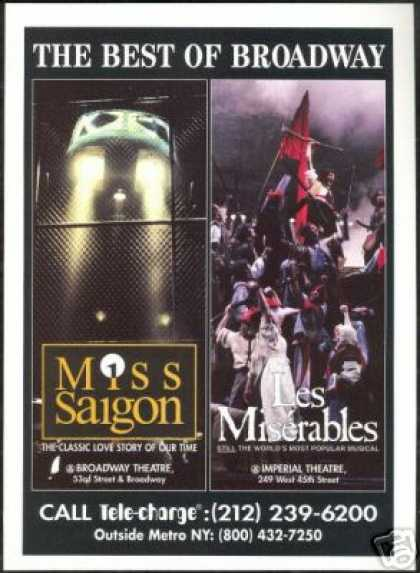 New York Theatre Les Miserables Miss Saigon (1995)