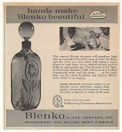 '63 Blenko Glass Decanter Hands Make Beautiful (1963)