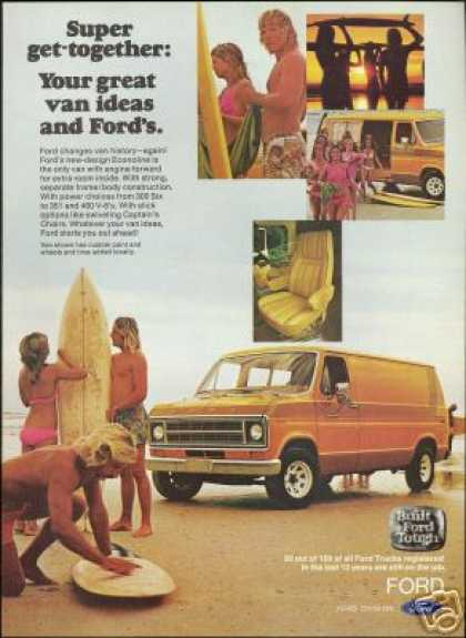 Ford Van Surf Boards Pretty Woman Surfers (1976)