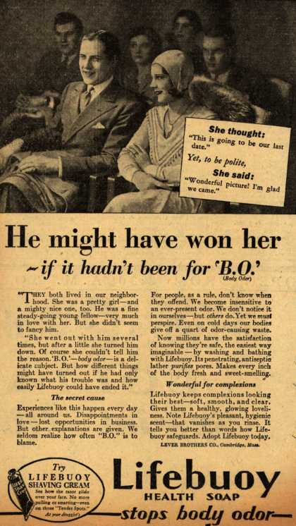 Lever Brothers Company's Lifebuoy Health Soap – He might have won her- if it hadn't been for 'B.O.' (1931)