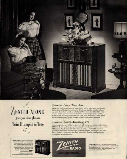 "Zenith Radio Corporation's ""Classic"" console combination – Zenith Alone gives you these glorious Twin Triumphs in Tone (1948)"