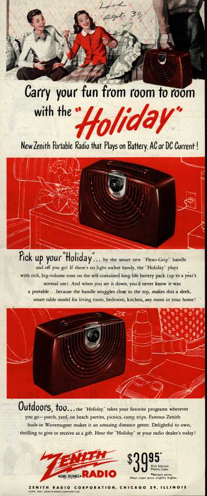 "Zenith Radio Corporation's ""Holiday"" Radio – Carry your fun from room to room with the ""Holiday"" (1947)"