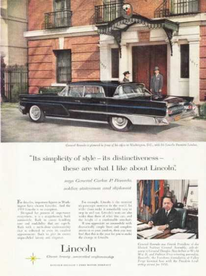 Ford Lincoln Premiere Landau Ad General Romulo (1959)