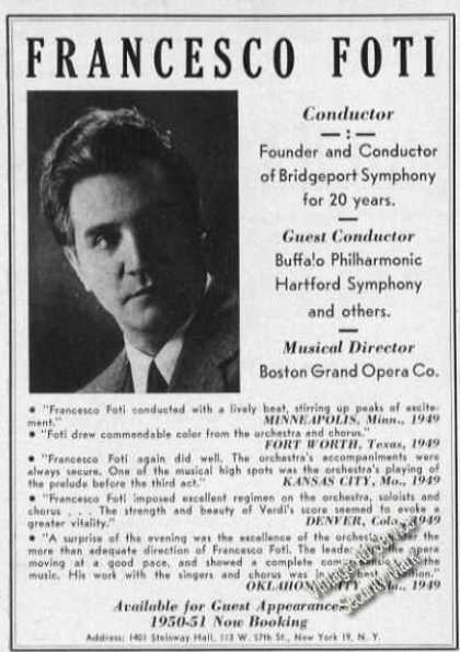 Francesco Foti Conductor Bridgeport Symphony (1950)