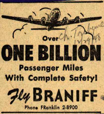 Braniff Airway's Safety – OVER ONE BILLION Passenger Miles With Complete Safety (1948)