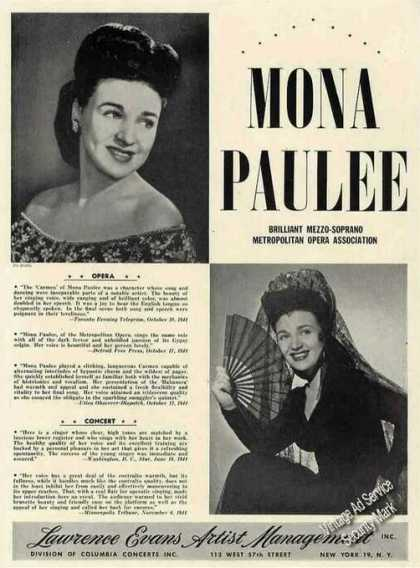 Mona Paulee Photos Opera Concert Music (1945)