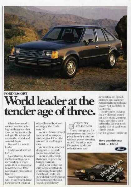 "Ford Escort ""World Leader at Age 3"" Collectible (1983)"