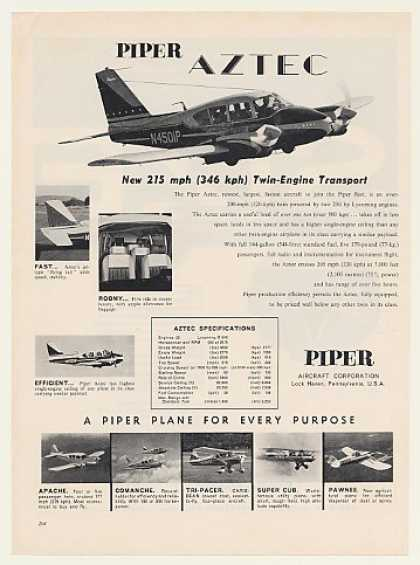 Piper Aztec Twin Engine Aircraft Photo 1960
