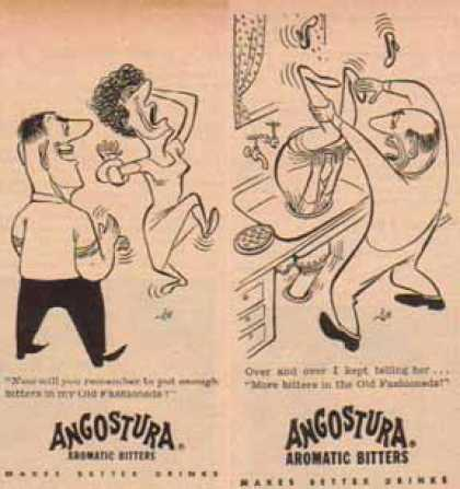 Angostura Aromatic Bitters – Set of 2 – Comic Cartoon (1949)