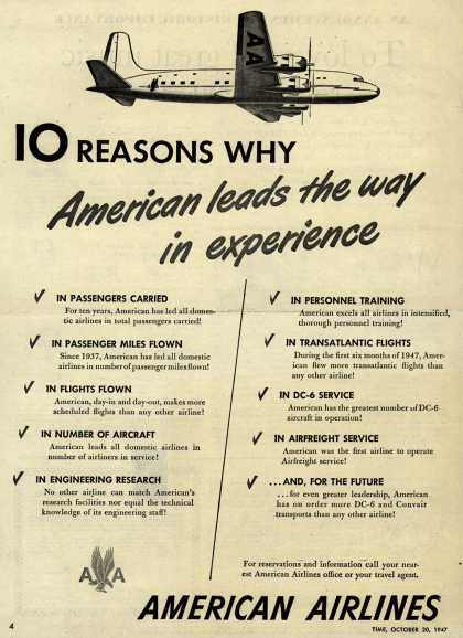 American Airlines – 10 Reasons Why American leads the way in experience (1947)