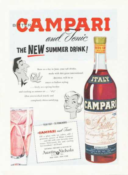 Campari Italy Print Bottle Art (1959)