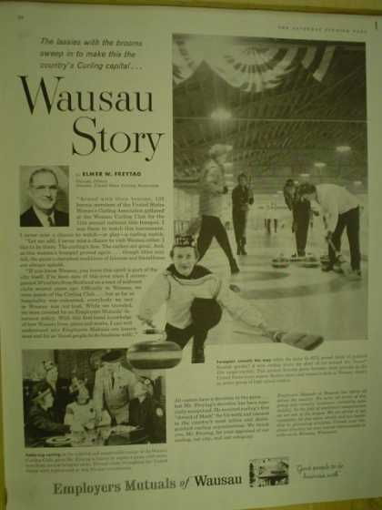 Employers Mutual of Wausau Wausau Story. Curling Lassies with brooms (1959)