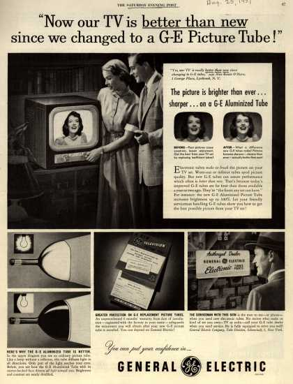 "General Electric Company's GE Aluminized Tube – ""Now our TV is better than new since we changed to a GE Picture Tube!"" (1951)"