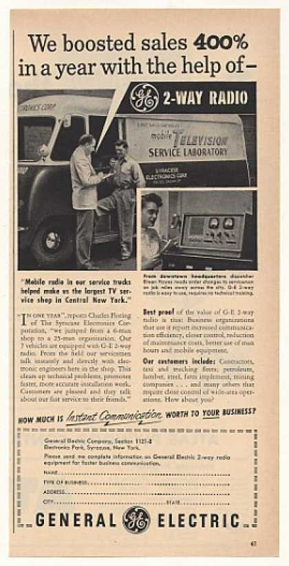Syracuse Electronics TV Service GE 2-Way Radio (1951)