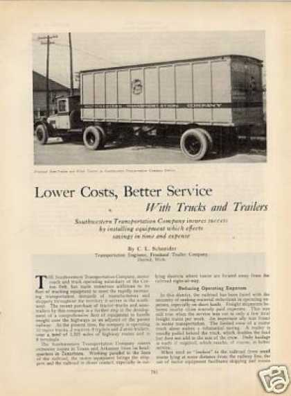 """Lower Costs, Better Service With.."" Article/sl-sw (1929)"