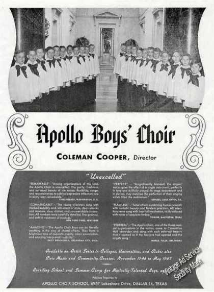 Apollo Boys' Choir Photo Booking (1946)