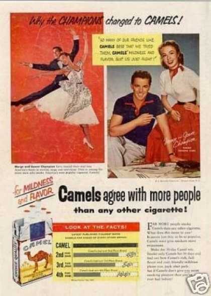 Camel Cigarettes Ad Marge & Gower Champion (1953)
