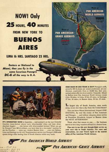 Pan American Airways System's Buenos Aires – Now! Only 25 Hours, 40 Minutes From New York To Buenos Aires