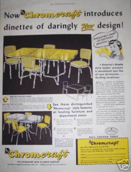 Retro Yellow Chromcraft Table & Chairs (1950)