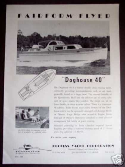 Fairform Flyer Doghouse 40 Huckins Boat Yacht (1954)