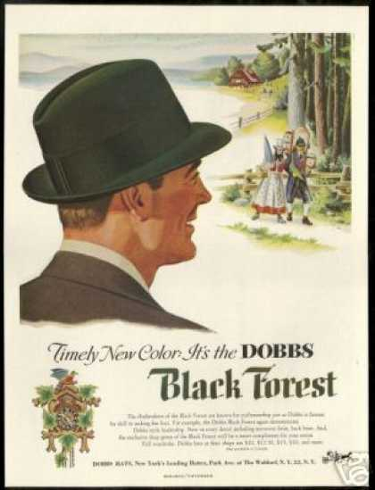 Dobbs Black Forest Hat Clockmaker Art (1954)