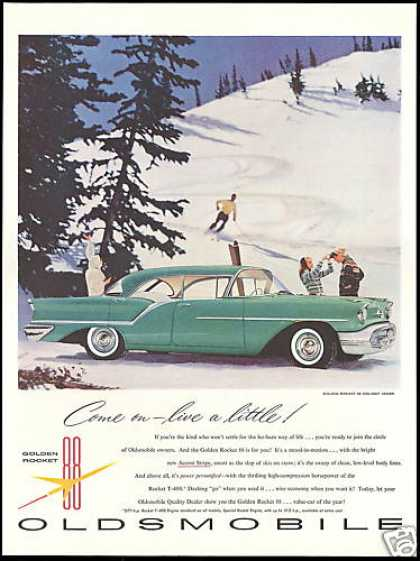 Oldsmobile Holiday Sedan Car Photo Snow Ski (1957)