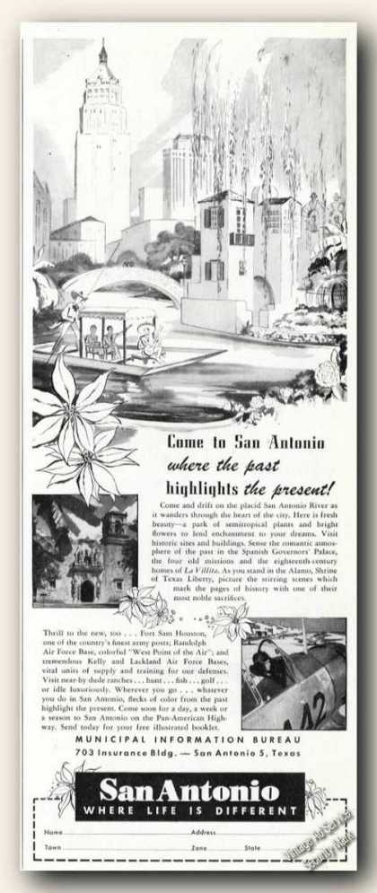 San Antonio Tx Drawing Vacation Travel (1949)