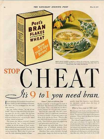 Post's Bran Cereal Color Ad 2 Page (1931)