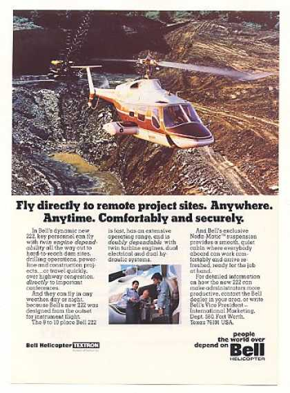 Bell 222 Helicopter Fly to Remote Sites Photo (1976)