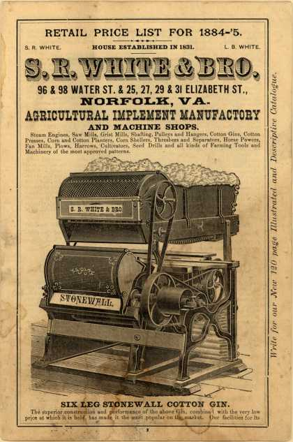 S. R. White & Bro.'s cotton gins, mills, plows – Retail Price List
